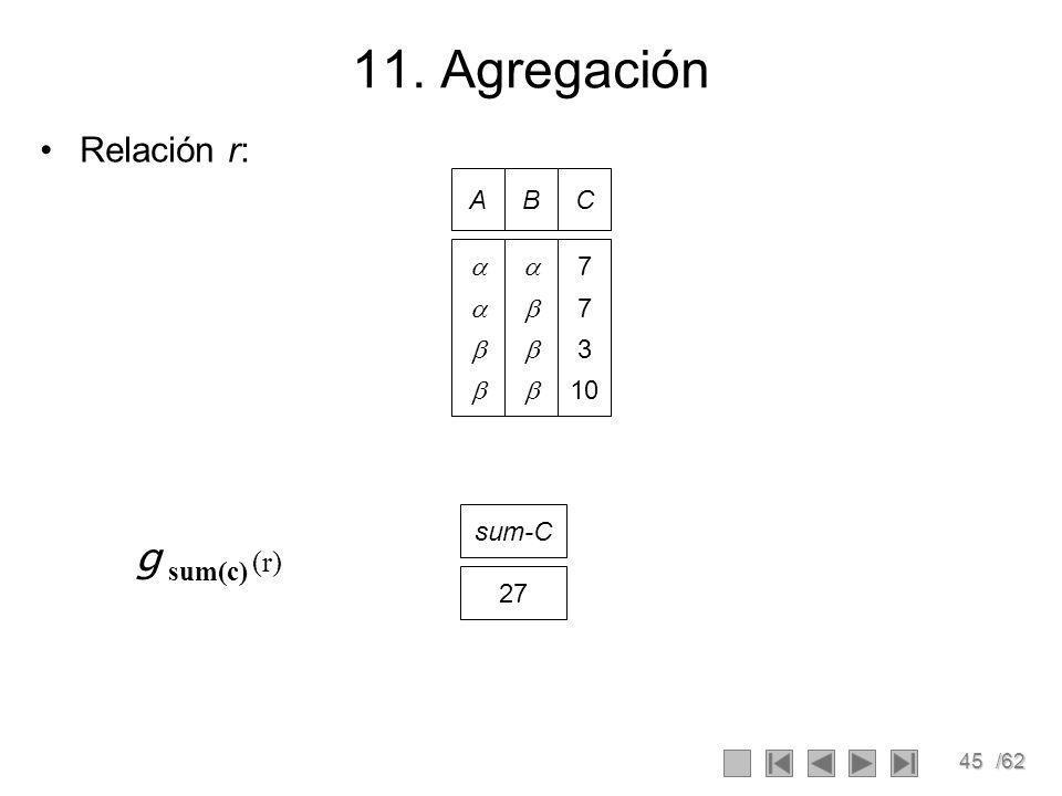 45/62 11. Agregación Relación r: AB C 7 3 10 g sum(c) (r) sum-C 27