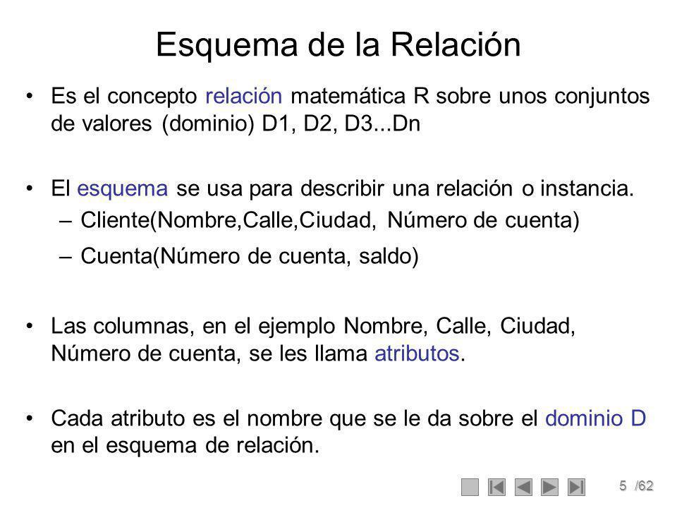 5/62 Esquema de la Relación Es el concepto relación matemática R sobre unos conjuntos de valores (dominio) D1, D2, D3...Dn El esquema se usa para describir una relación o instancia.