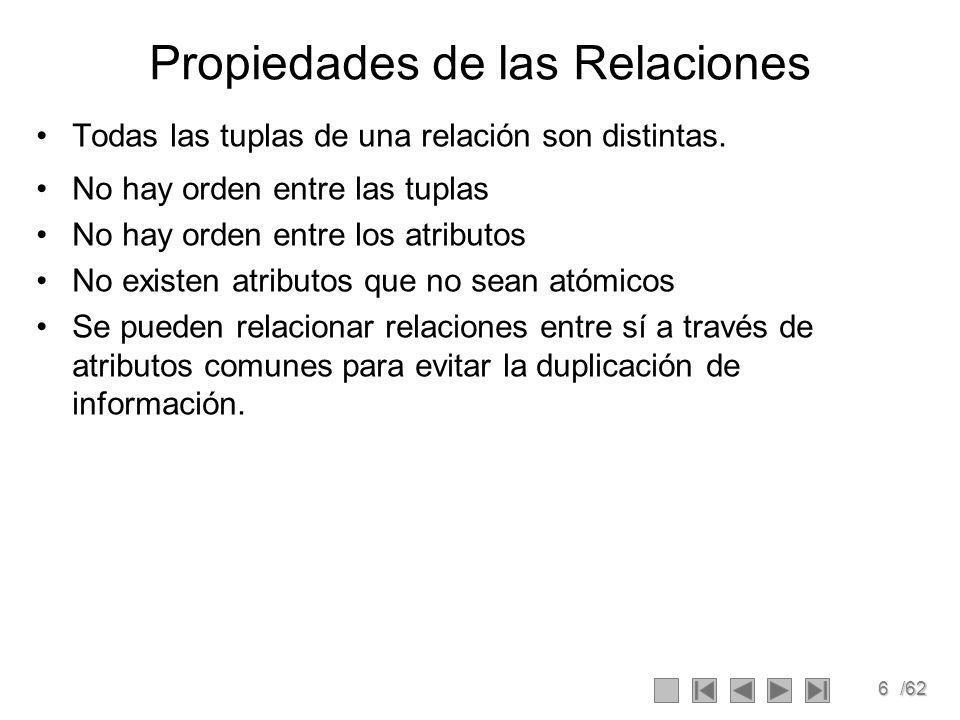 6/62 Propiedades de las Relaciones Todas las tuplas de una relación son distintas.