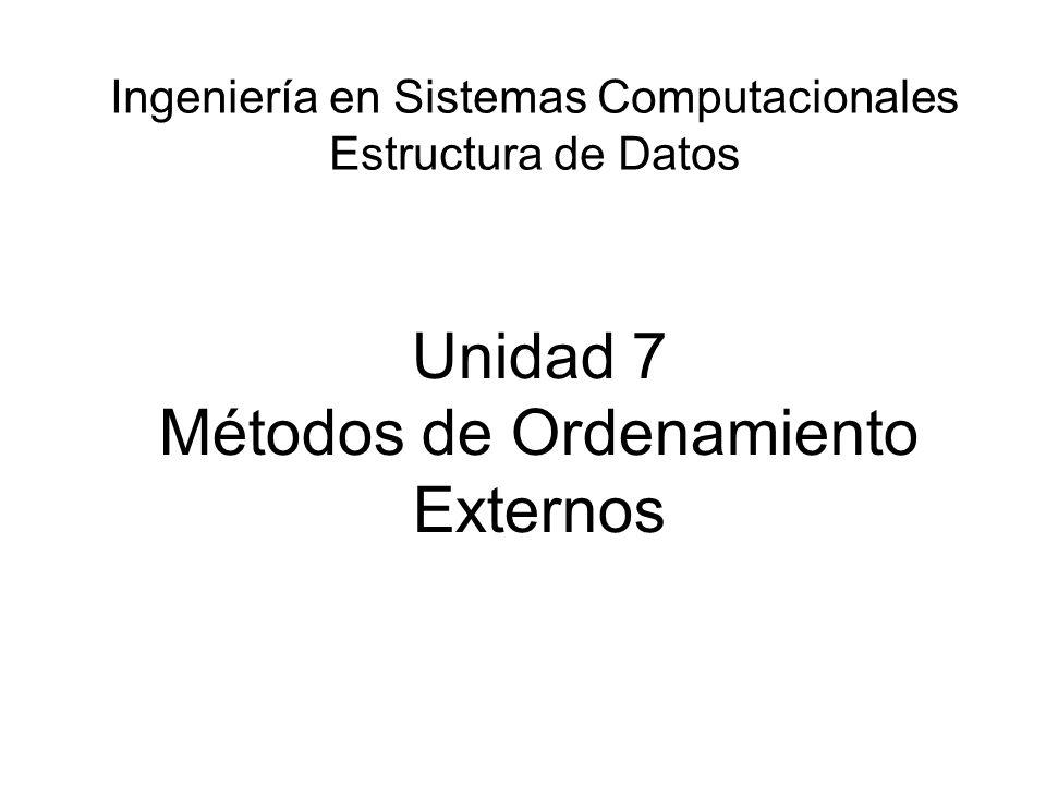 Unidad 7 Métodos de Ordenamiento Externos Ingeniería en Sistemas Computacionales Estructura de Datos
