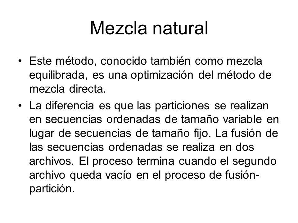 Mezcla natural Este método, conocido también como mezcla equilibrada, es una optimización del método de mezcla directa. La diferencia es que las parti