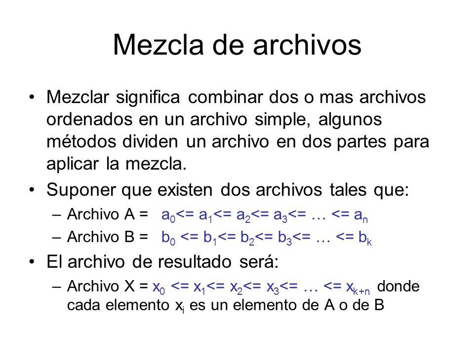 Mezcla de archivos Mezclar significa combinar dos o mas archivos ordenados en un archivo simple, algunos métodos dividen un archivo en dos partes para