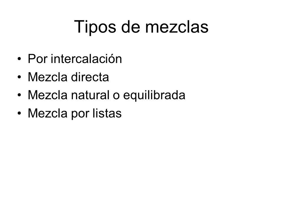 Tipos de mezclas Por intercalación Mezcla directa Mezcla natural o equilibrada Mezcla por listas