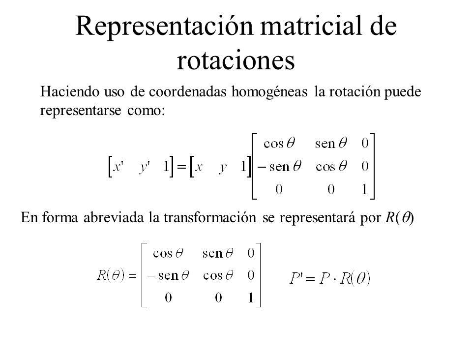 Representación matricial de rotaciones Haciendo uso de coordenadas homogéneas la rotación puede representarse como: En forma abreviada la transformaci