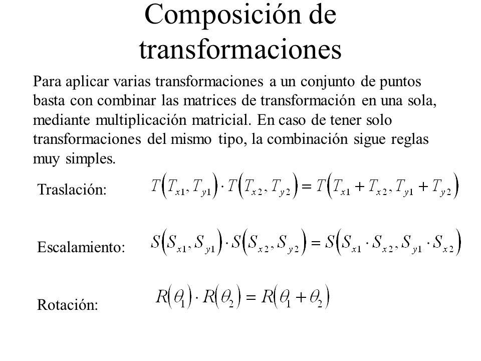 Composición de transformaciones Para aplicar varias transformaciones a un conjunto de puntos basta con combinar las matrices de transformación en una