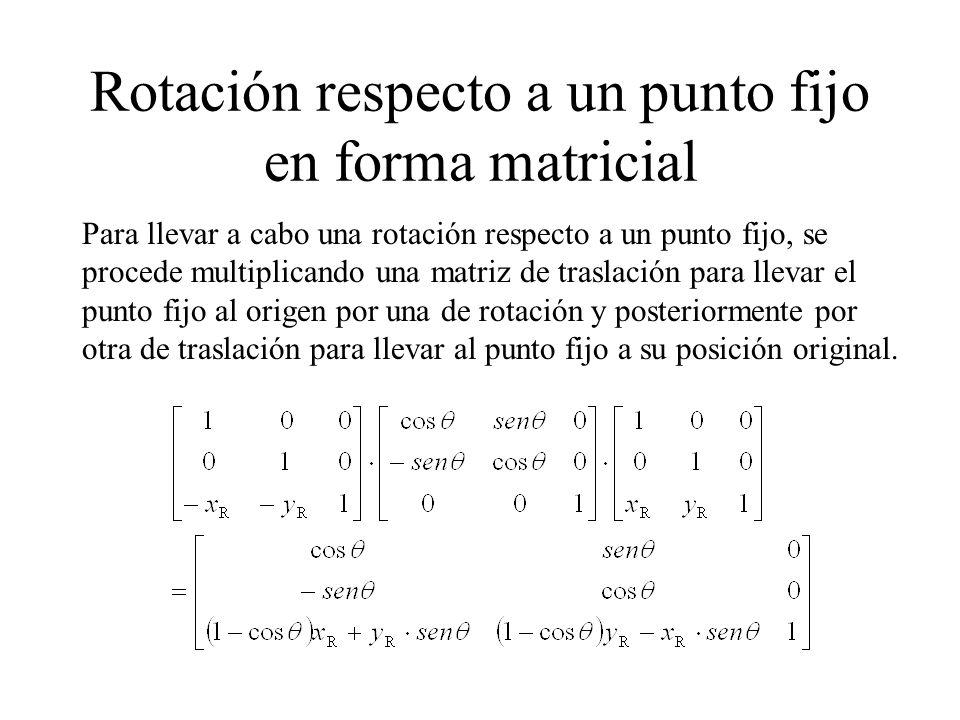 Rotación respecto a un punto fijo en forma matricial Para llevar a cabo una rotación respecto a un punto fijo, se procede multiplicando una matriz de