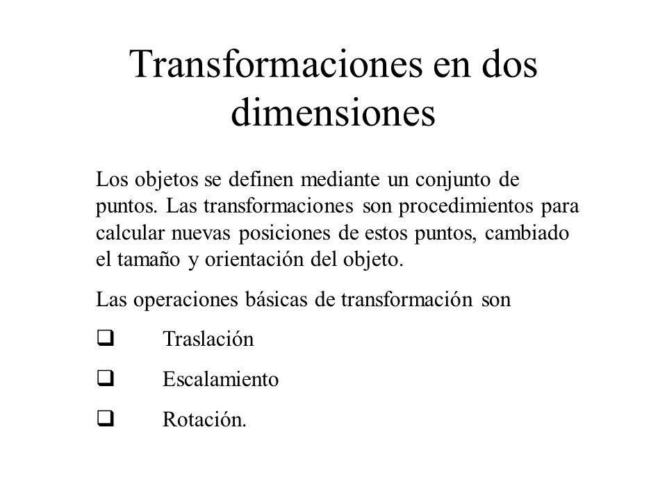Traslación Las coordenadas (x, y) de un objeto se transforman a (x , y ) de acuerdo a las fórmulas: El par (T x, T y ) se conoce como vector de traslación.