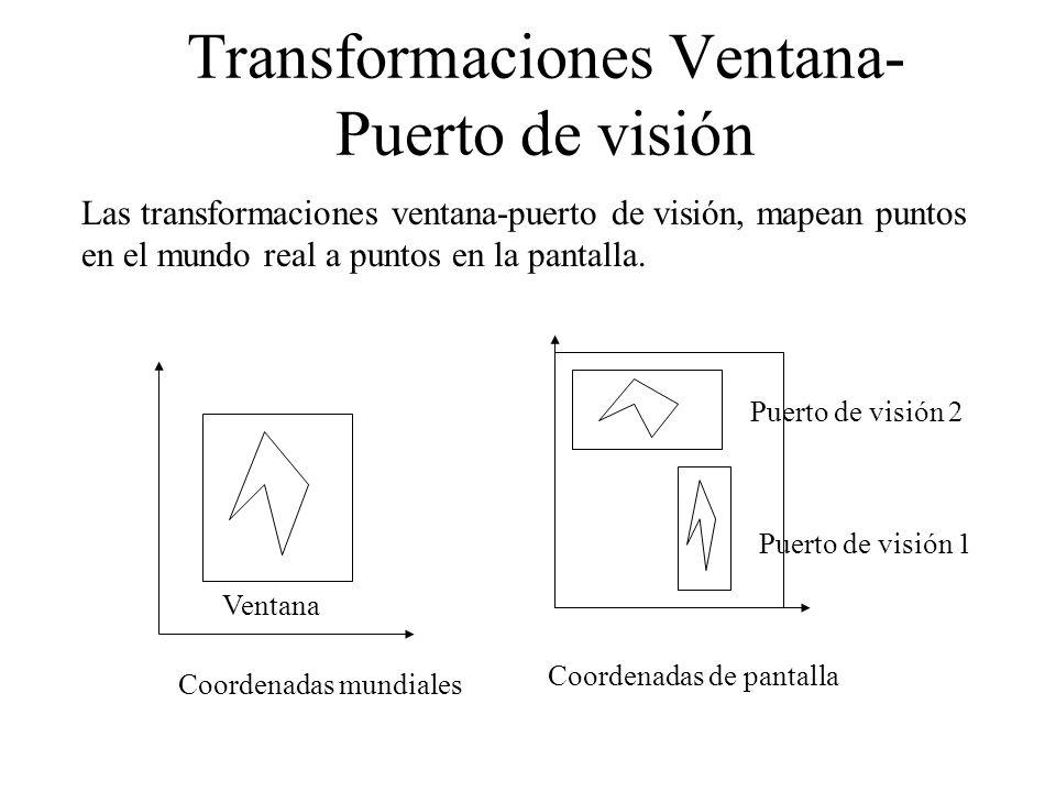 Transformaciones Ventana- Puerto de visión Las transformaciones ventana-puerto de visión, mapean puntos en el mundo real a puntos en la pantalla. Coor