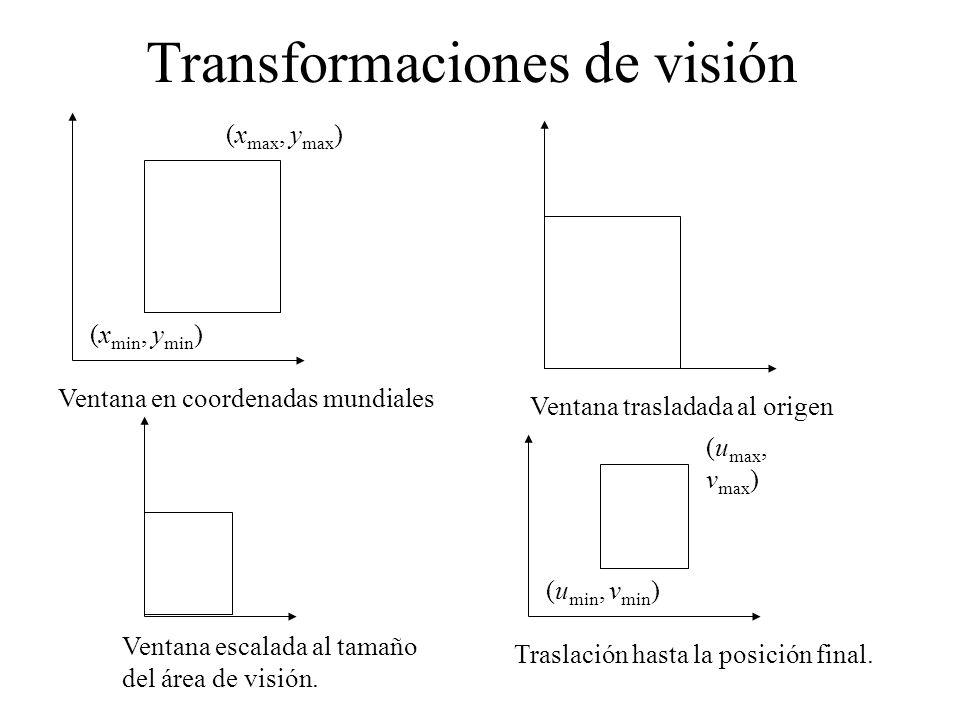 Transformaciones de visión Ventana en coordenadas mundiales (x min, y min ) (x max, y max ) Ventana trasladada al origen Ventana escalada al tamaño de