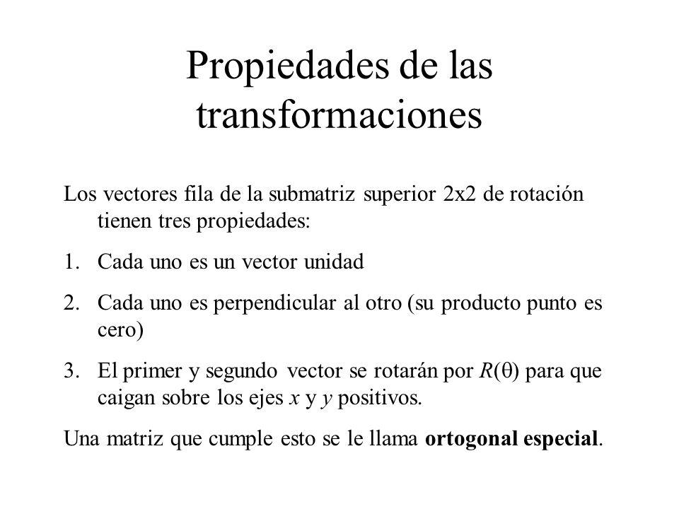 Propiedades de las transformaciones Los vectores fila de la submatriz superior 2x2 de rotación tienen tres propiedades: 1.Cada uno es un vector unidad