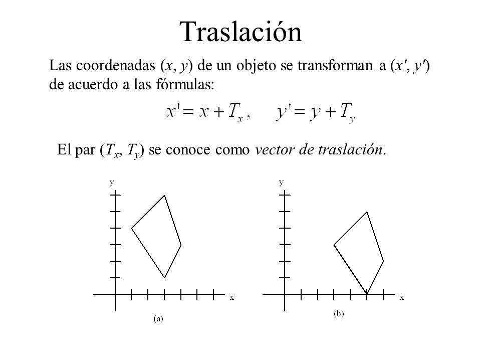 Traslación Las coordenadas (x, y) de un objeto se transforman a (x', y') de acuerdo a las fórmulas: El par (T x, T y ) se conoce como vector de trasla