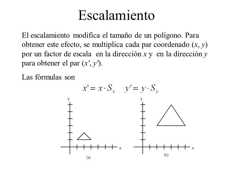 Escalamiento El escalamiento modifica el tamaño de un polígono. Para obtener este efecto, se multiplica cada par coordenado (x, y) por un factor de es