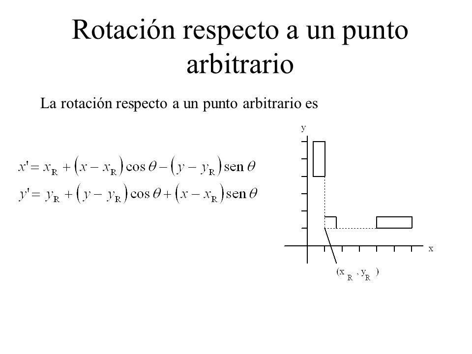 Rotación respecto a un punto arbitrario La rotación respecto a un punto arbitrario es