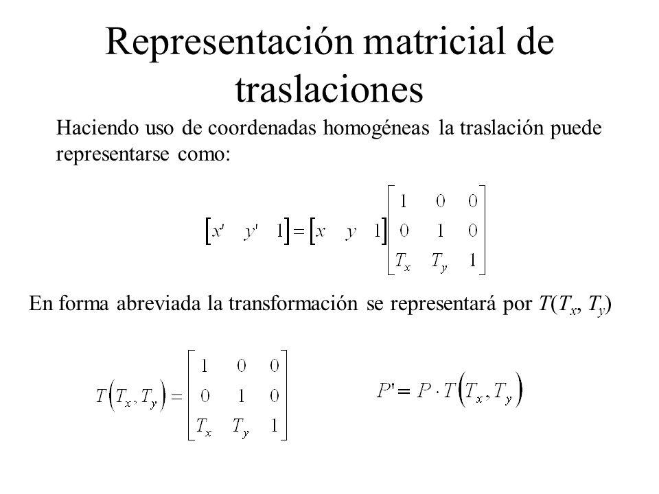 Haciendo uso de coordenadas homogéneas el escalamiento puede representarse como: En forma abreviada la transformación se representará por S(S x, S y ) Representación matricial de escalamientos