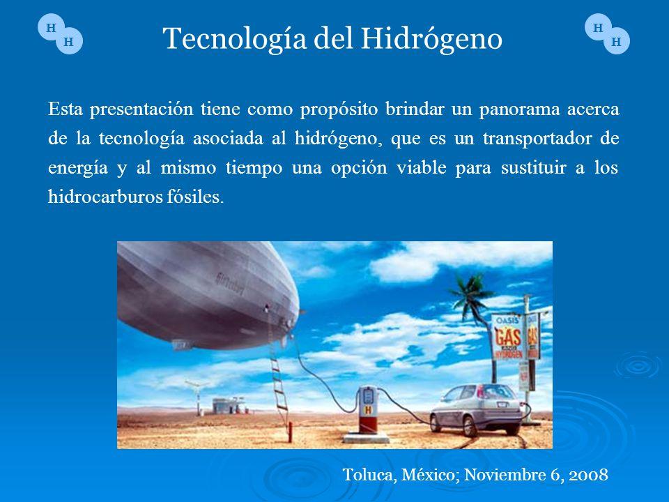 Esta presentación tiene como propósito brindar un panorama acerca de la tecnología asociada al hidrógeno, que es un transportador de energía y al mism