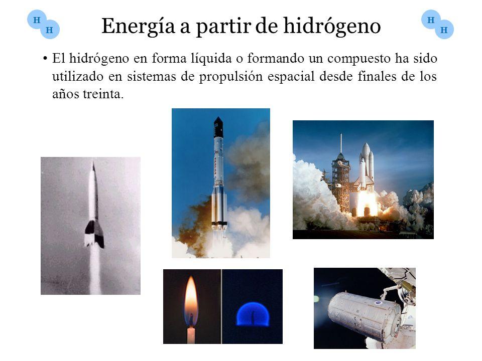 Energía a partir de hidrógeno El hidrógeno en forma líquida o formando un compuesto ha sido utilizado en sistemas de propulsión espacial desde finales