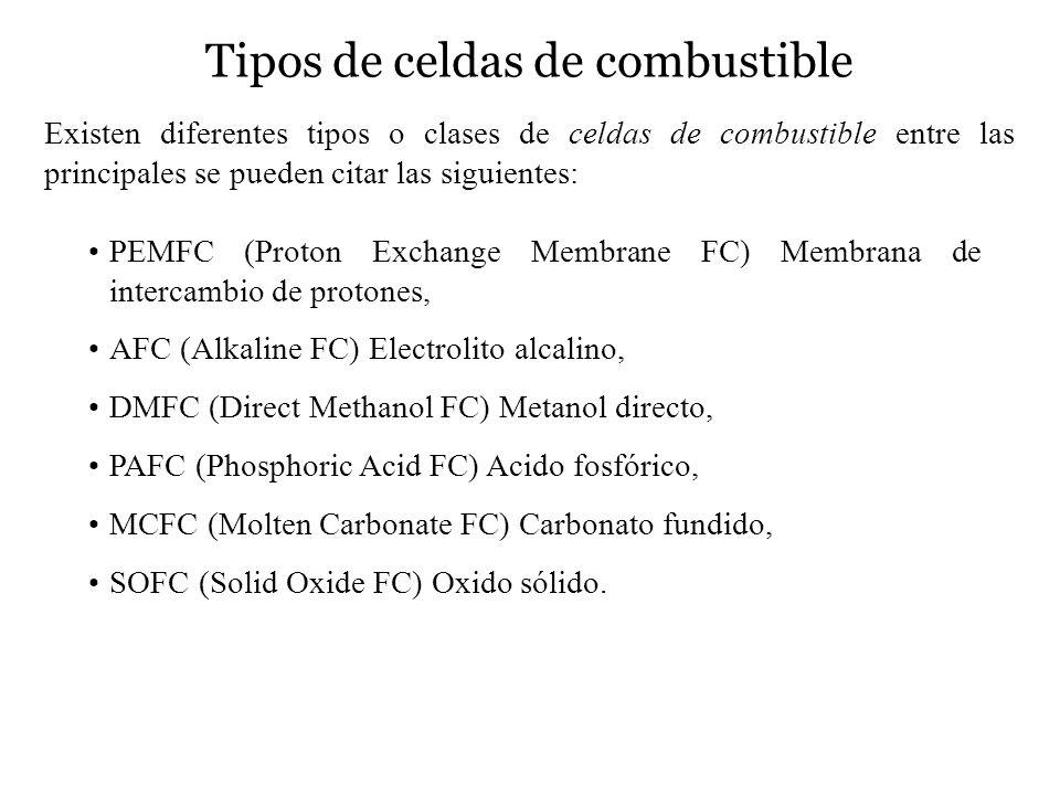 Tipos de celdas de combustible Existen diferentes tipos o clases de celdas de combustible entre las principales se pueden citar las siguientes: PEMFC