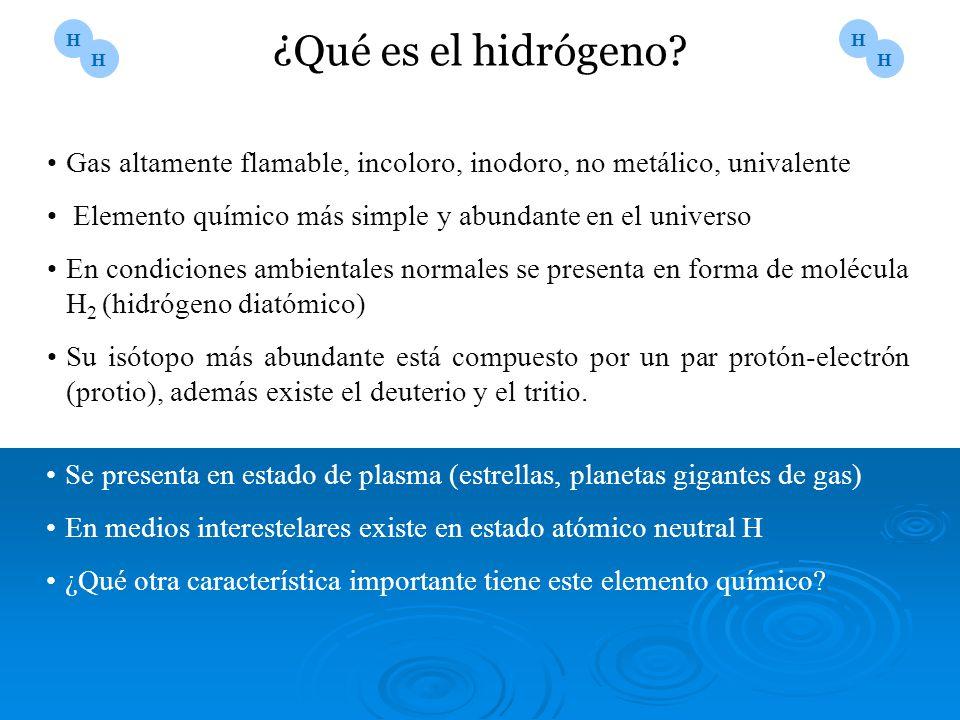 ¿Qué es el hidrógeno? Gas altamente flamable, incoloro, inodoro, no metálico, univalente Elemento químico más simple y abundante en el universo En con