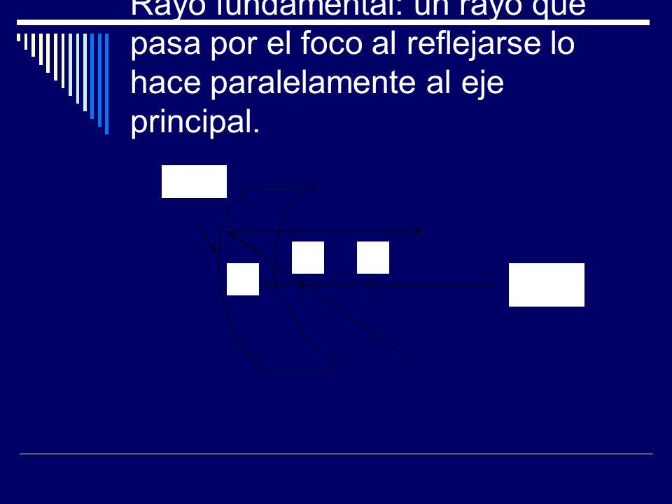 Rayo fundamental: un rayo que pasa por el foco al reflejarse lo hace paralelamente al eje principal. V FC Eje principal Vértice