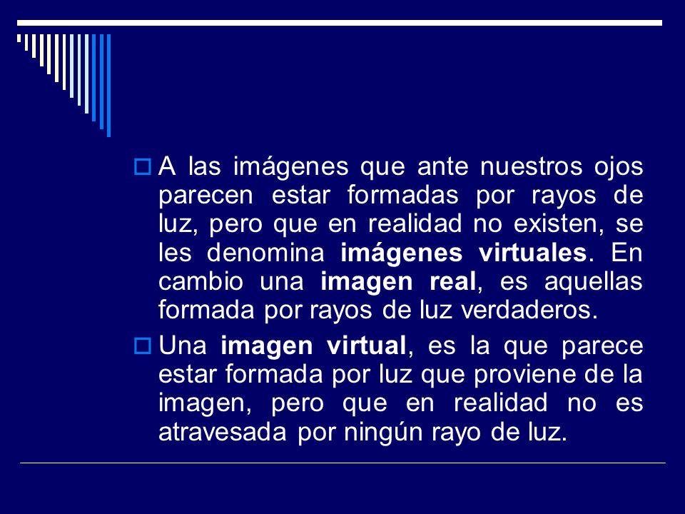 A las imágenes que ante nuestros ojos parecen estar formadas por rayos de luz, pero que en realidad no existen, se les denomina imágenes virtuales. En