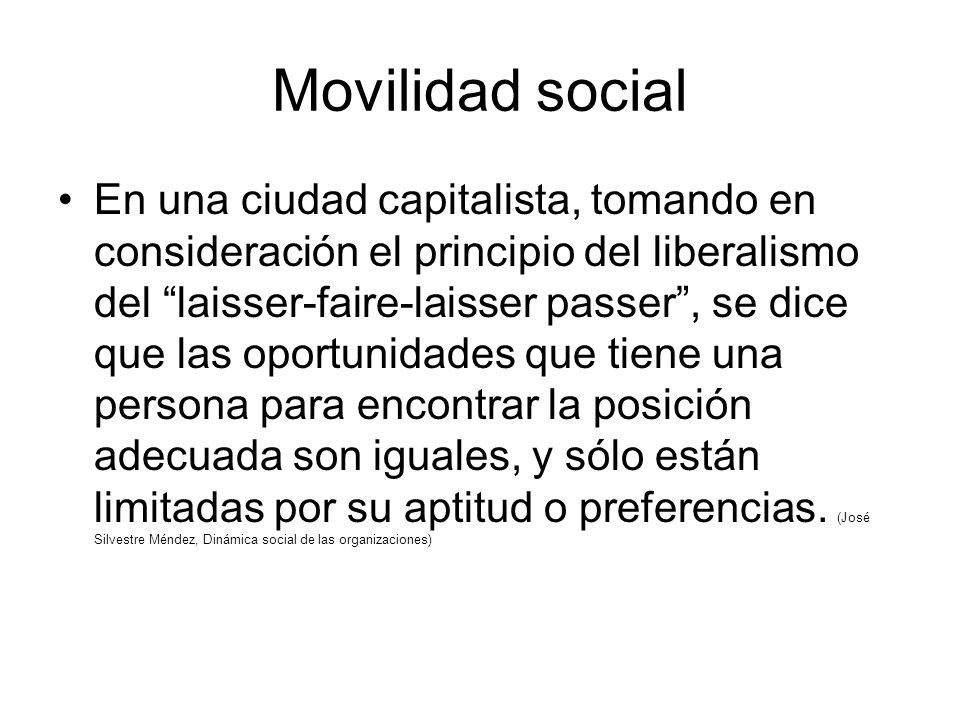 Movilidad social En una ciudad capitalista, tomando en consideración el principio del liberalismo del laisser-faire-laisser passer, se dice que las oportunidades que tiene una persona para encontrar la posición adecuada son iguales, y sólo están limitadas por su aptitud o preferencias.