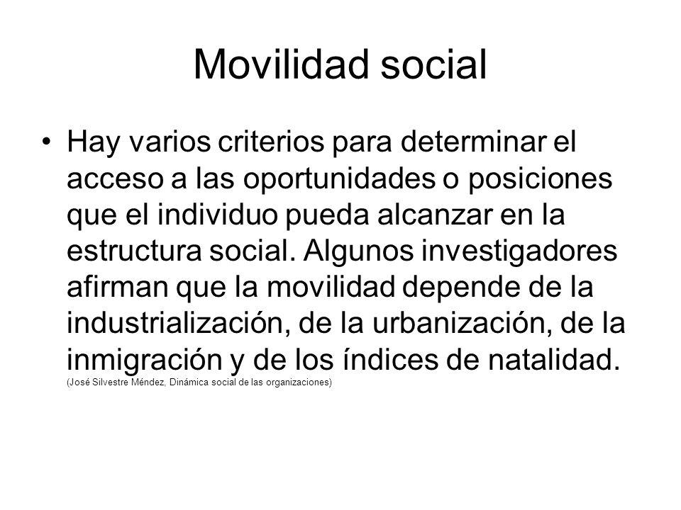 Movilidad social Hay varios criterios para determinar el acceso a las oportunidades o posiciones que el individuo pueda alcanzar en la estructura social.