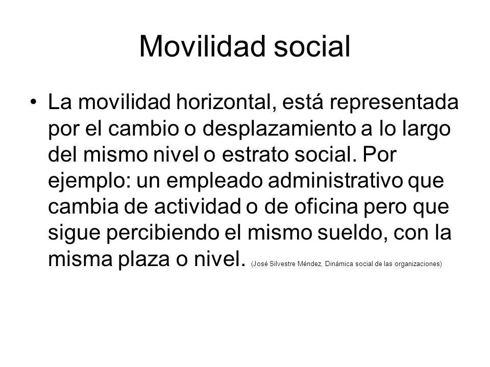 Movilidad social La movilidad horizontal, está representada por el cambio o desplazamiento a lo largo del mismo nivel o estrato social.