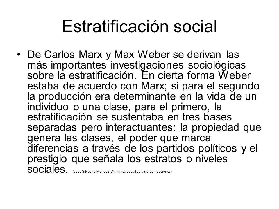 Estratificación social De Carlos Marx y Max Weber se derivan las más importantes investigaciones sociológicas sobre la estratificación.