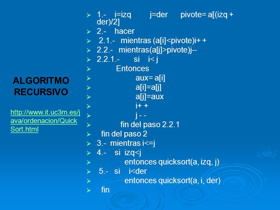 1.- i=izq j=der pivote= a[(izq + der)/2] 2.- hacer 2.1.- mientras (a[i]<pivote)i+ + 2.2.- mientras(a[j]>pivote)j-- 2.2.1.- si i< j Entonces aux= a[i]