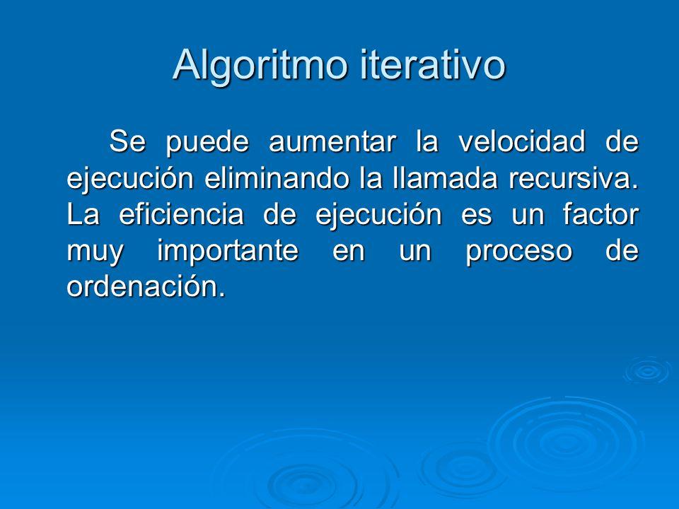 Algoritmo iterativo Se puede aumentar la velocidad de ejecución eliminando la llamada recursiva. La eficiencia de ejecución es un factor muy important