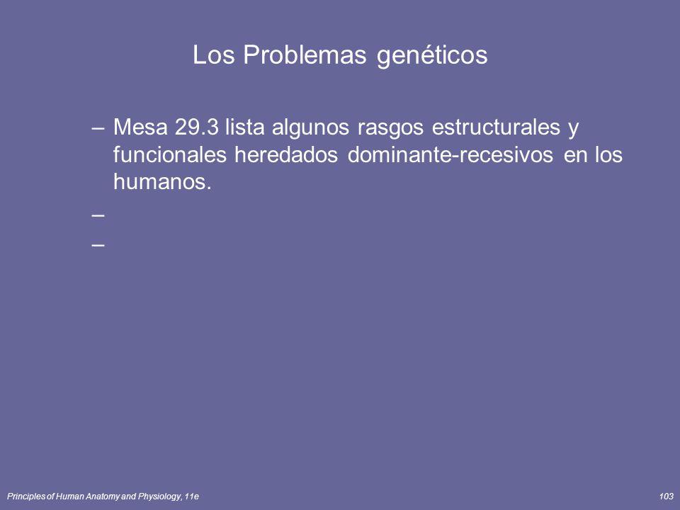 Principles of Human Anatomy and Physiology, 11e103 Los Problemas genéticos –Mesa 29.3 lista algunos rasgos estructurales y funcionales heredados dominante-recesivos en los humanos.