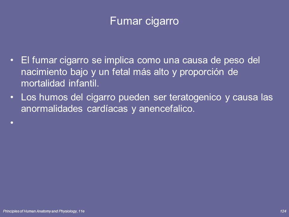 Principles of Human Anatomy and Physiology, 11e124 Fumar cigarro El fumar cigarro se implica como una causa de peso del nacimiento bajo y un fetal más alto y proporción de mortalidad infantil.