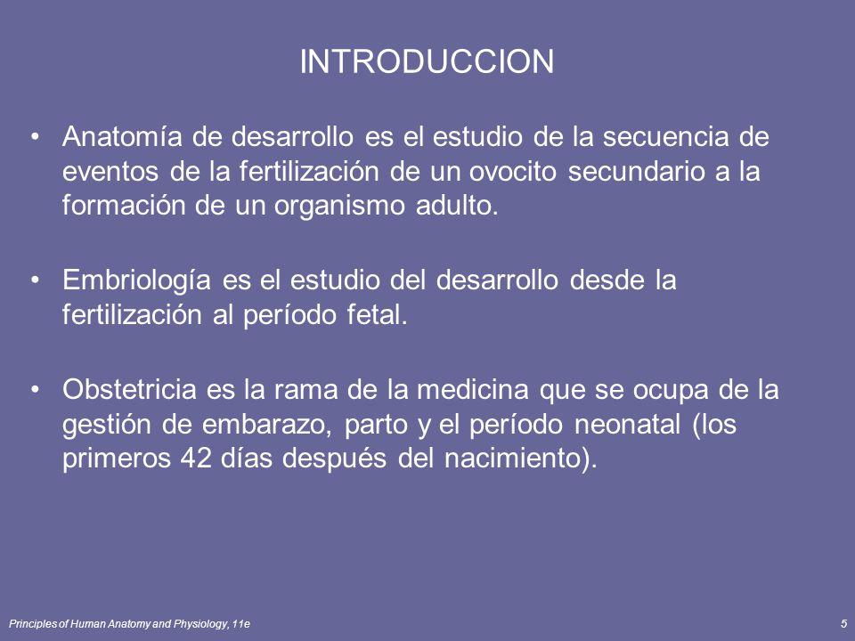 Principles of Human Anatomy and Physiology, 11e5 INTRODUCCION Anatomía de desarrollo es el estudio de la secuencia de eventos de la fertilización de un ovocito secundario a la formación de un organismo adulto.