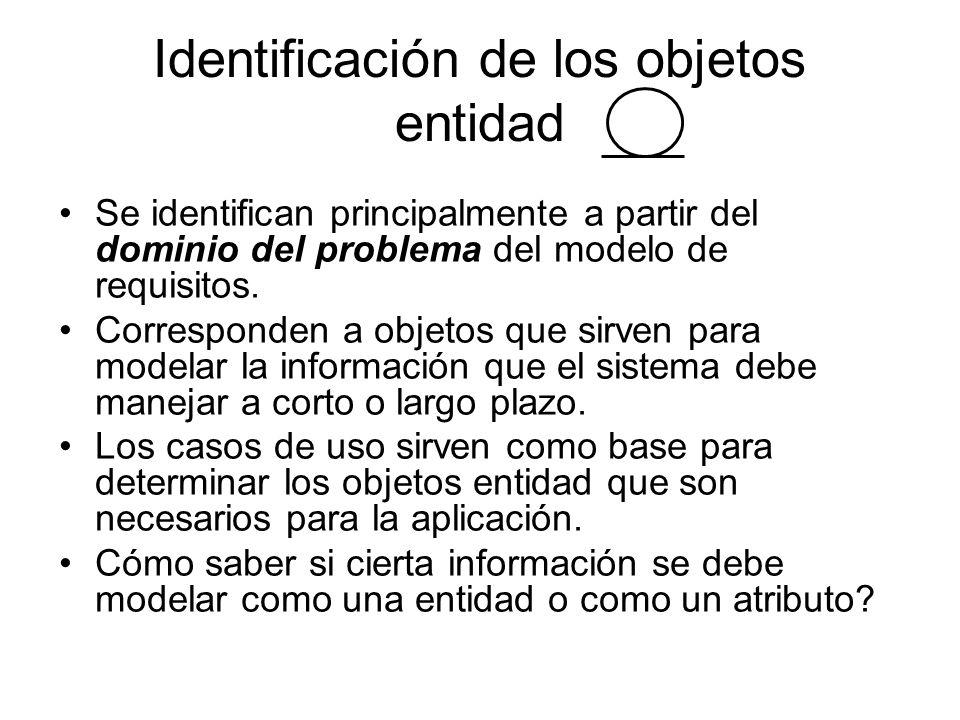 Identificación de los objetos entidad Se identifican principalmente a partir del dominio del problema del modelo de requisitos. Corresponden a objetos