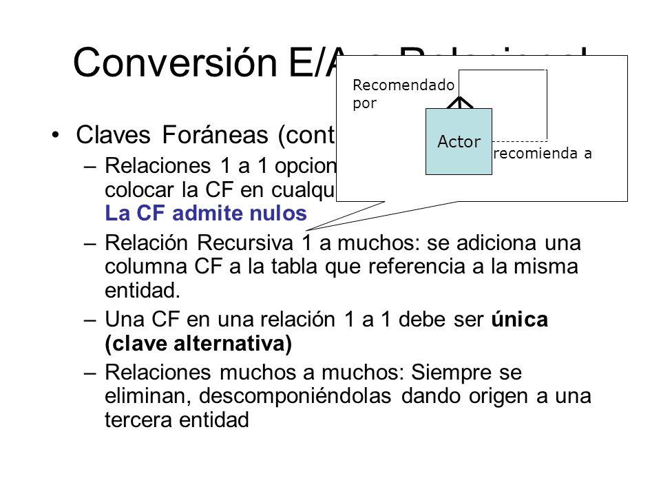 Conversión E/A a Relacional Claves Foráneas (cont.): –Relaciones 1 a 1 opcionales en los dos sentidos: colocar la CF en cualquiera de las dos entidade