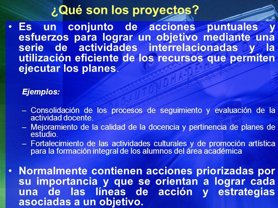 ¿Qué son los proyectos? Es un conjunto de acciones puntuales y esfuerzos para lograr un objetivo mediante una serie de actividades interrelacionadas y