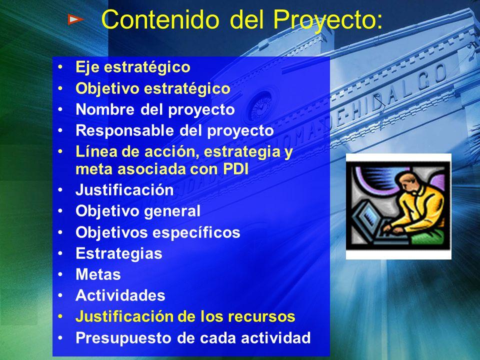 Eje estratégico Objetivo estratégico Nombre del proyecto Responsable del proyecto Línea de acción, estrategia y meta asociada con PDI Justificación Ob