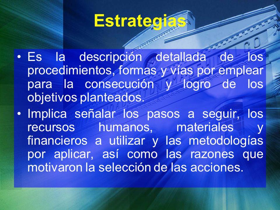 Estrategias Es la descripción detallada de los procedimientos, formas y vías por emplear para la consecución y logro de los objetivos planteados. Impl
