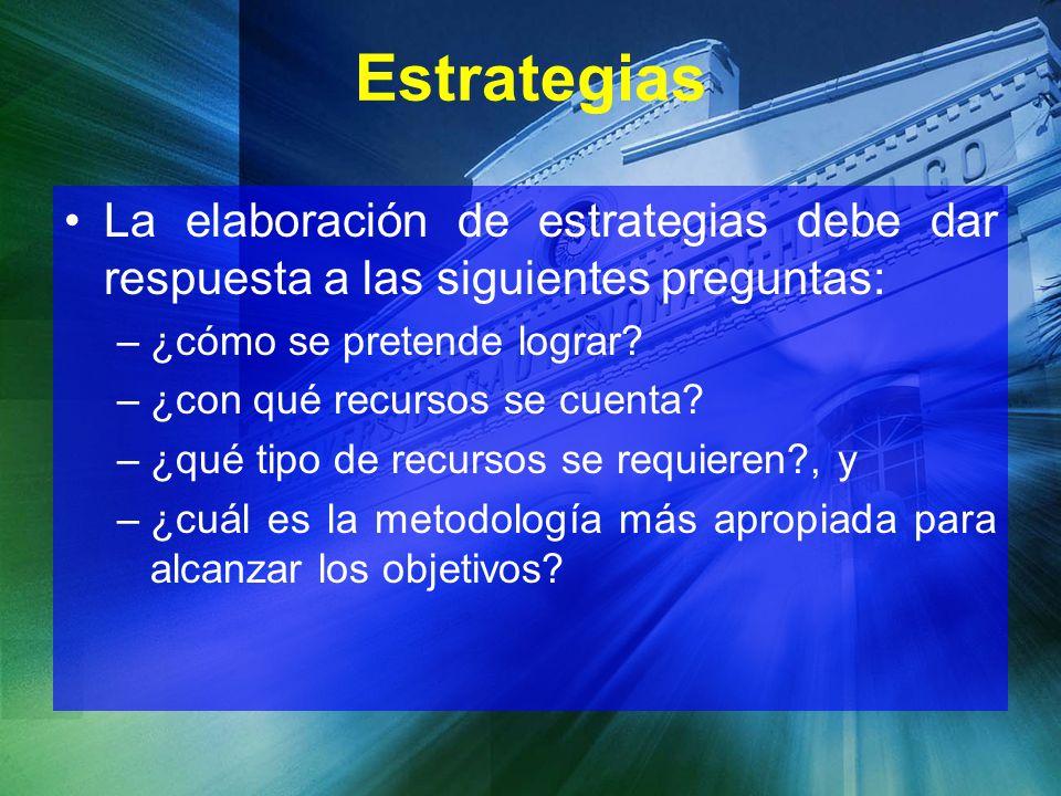 Estrategias La elaboración de estrategias debe dar respuesta a las siguientes preguntas: –¿cómo se pretende lograr? –¿con qué recursos se cuenta? –¿qu