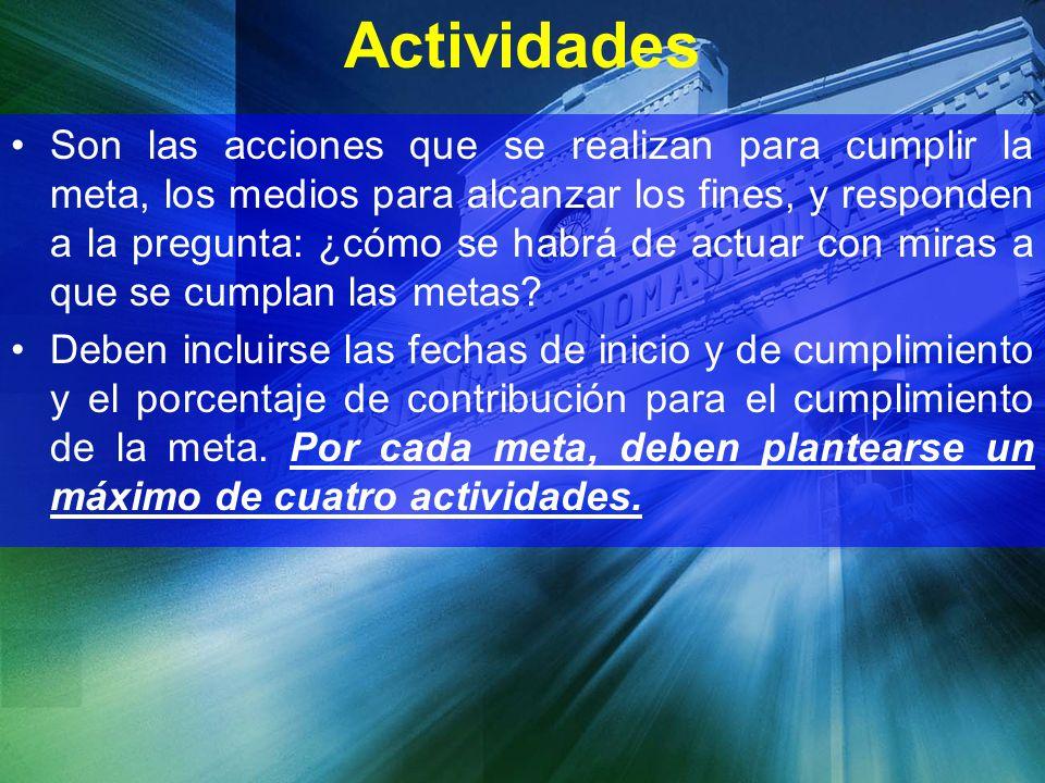 Actividades Son las acciones que se realizan para cumplir la meta, los medios para alcanzar los fines, y responden a la pregunta: ¿cómo se habrá de ac