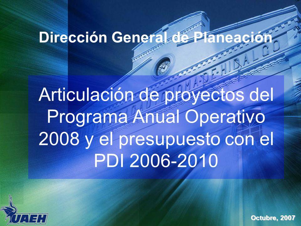 Articulación de proyectos del Programa Anual Operativo 2008 y el presupuesto con el PDI 2006-2010 Dirección General de Planeación Octubre, 2007