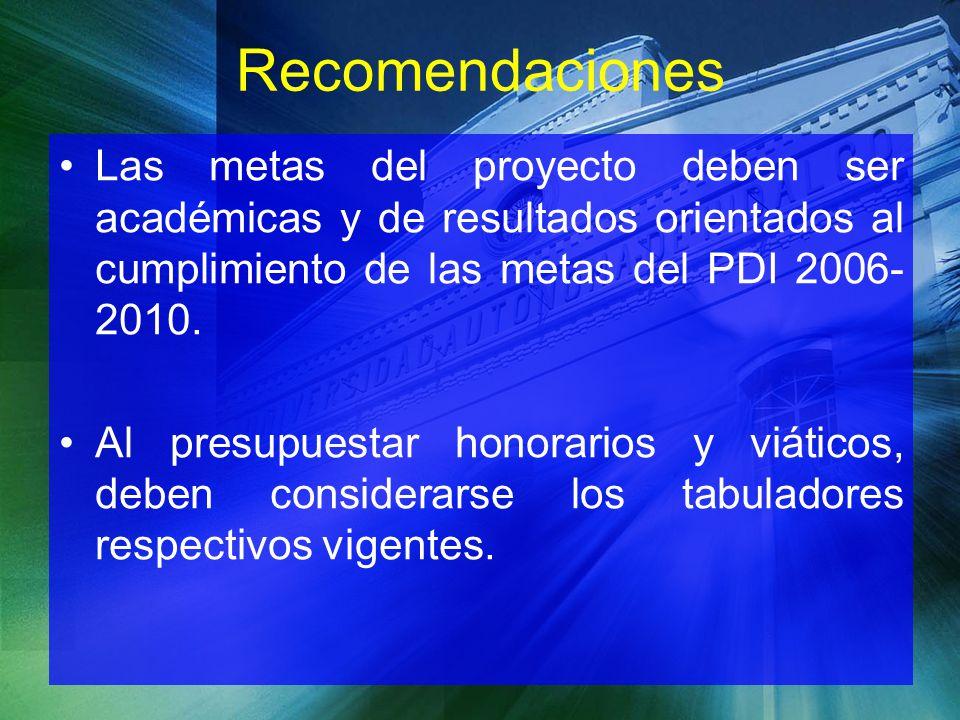 Las metas del proyecto deben ser académicas y de resultados orientados al cumplimiento de las metas del PDI 2006- 2010. Al presupuestar honorarios y v