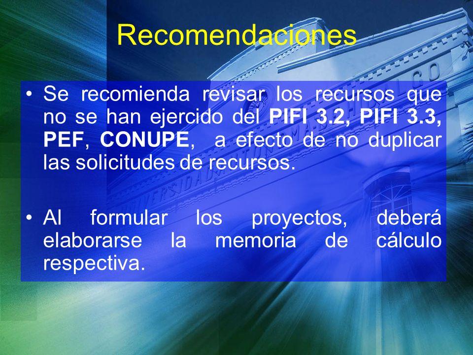 Recomendaciones Se recomienda revisar los recursos que no se han ejercido del PIFI 3.2, PIFI 3.3, PEF, CONUPE, a efecto de no duplicar las solicitudes