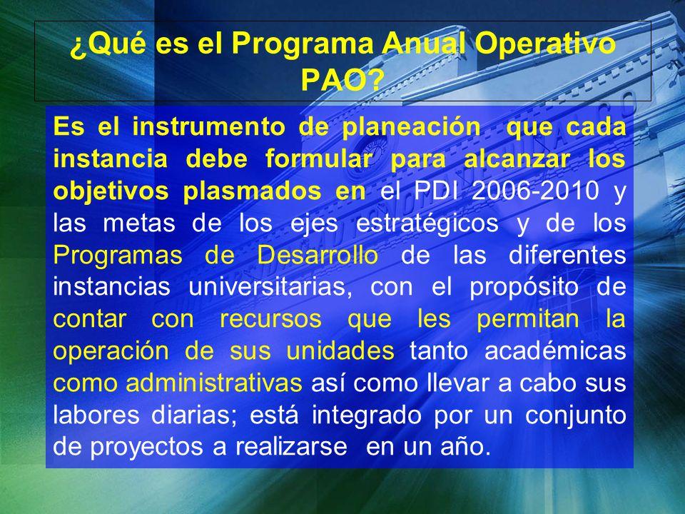 ¿Qué es el Programa Anual Operativo PAO? Es el instrumento de planeación que cada instancia debe formular para alcanzar los objetivos plasmados en el