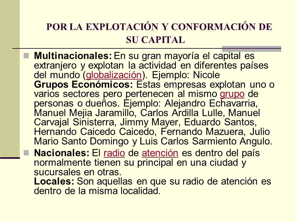 POR LA EXPLOTACIÓN Y CONFORMACIÓN DE SU CAPITAL Multinacionales: En su gran mayoría el capital es extranjero y explotan la actividad en diferentes paí