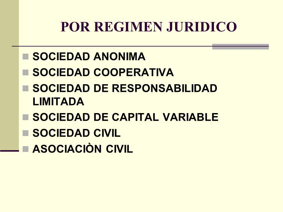 POR REGIMEN JURIDICO SOCIEDAD ANONIMA SOCIEDAD COOPERATIVA SOCIEDAD DE RESPONSABILIDAD LIMITADA SOCIEDAD DE CAPITAL VARIABLE SOCIEDAD CIVIL ASOCIACIÒN