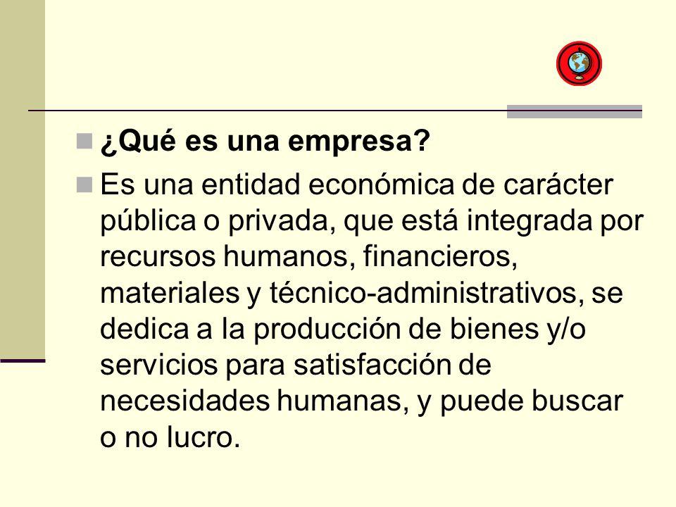 ¿Qué es una empresa? Es una entidad económica de carácter pública o privada, que está integrada por recursos humanos, financieros, materiales y técnic