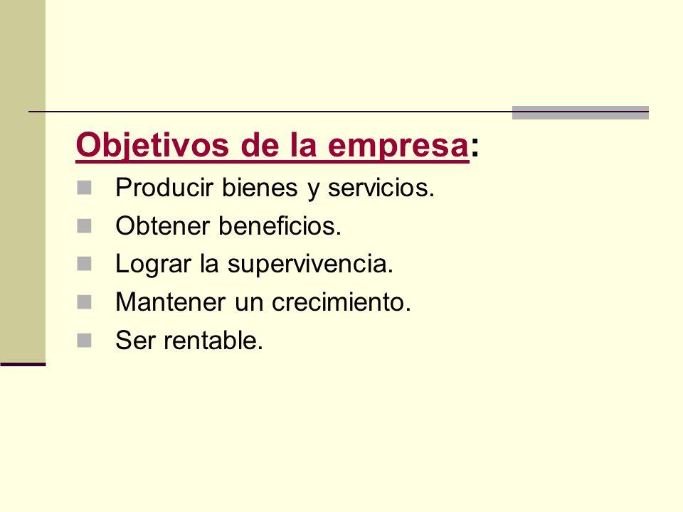 Objetivos de la empresaObjetivos de la empresa: Producir bienes y servicios. Obtener beneficios. Lograr la supervivencia. Mantener un crecimiento. Ser