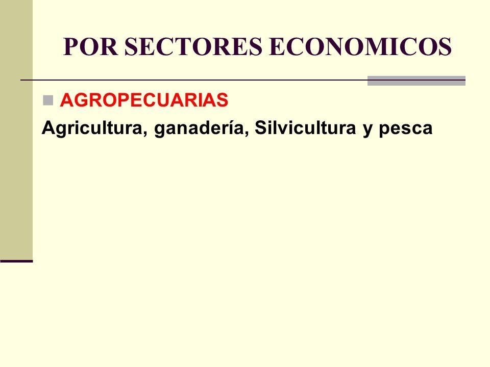 POR SECTORES ECONOMICOS AGROPECUARIAS Agricultura, ganadería, Silvicultura y pesca
