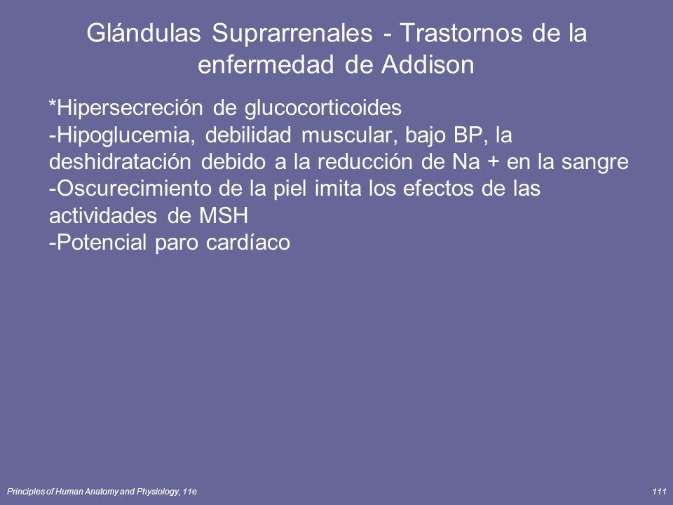 Principles of Human Anatomy and Physiology, 11e111 Glándulas Suprarrenales - Trastornos de la enfermedad de Addison *Hipersecreción de glucocorticoide